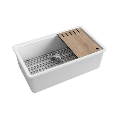 """Plymouth Undermount Fireclay 31.5"""" x 18.3"""" Single Bowl Kitchen Sink with Accessories in White"""
