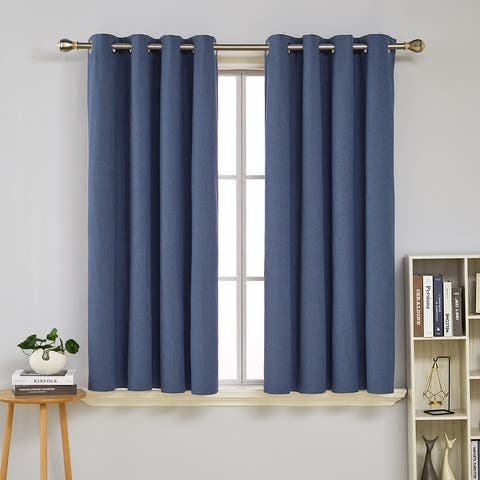Deconovo Faux Linen Total Blackout with Coating Curtains