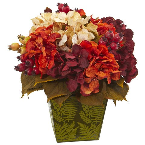 "13"" Autumn Hydrangea Berry Artificial Arrangement in Green Vase"