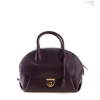 Salvatore Ferragamo Ginny Leather Tote Handbag - Purple - M