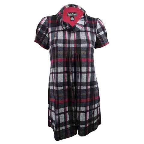 Jessica Howard Women's Petite Plaid Sweater Dress (PXL, Black/Red) - Black/Red - PXL