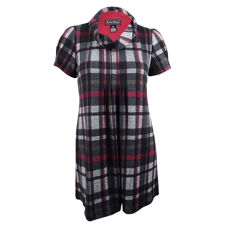 Jessica Howard Womens Plaid Sweater Dress