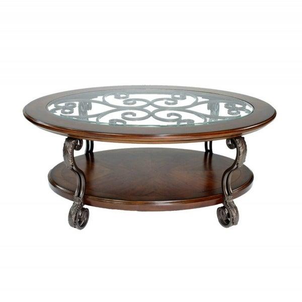 Pleasant Shop Ashley T517 0 Nestor Medium Brown Oval Cocktail Table W Beutiful Home Inspiration Semekurdistantinfo