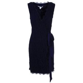 Diane Von Furstenberg Womens Julianna Lace Sleeveless Wrap Dress - 6