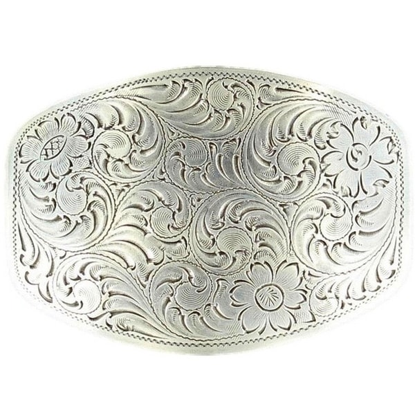 Nocona Western Belt Buckle Rectangle Floral Silver - 2 1/2 x 3 1/4