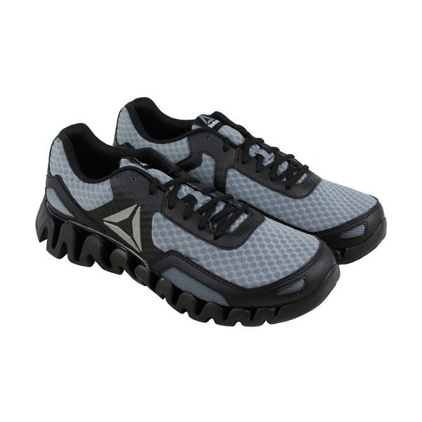 Reebok Zigevolution Mens Black Mesh Athletic Lace Up Running Shoes