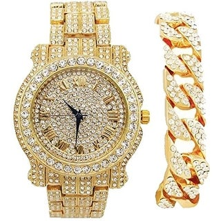 Bling-ed Out Round Luxury Mens Watch w/ Bling-ed Out Cuban Bracelet - L0504B