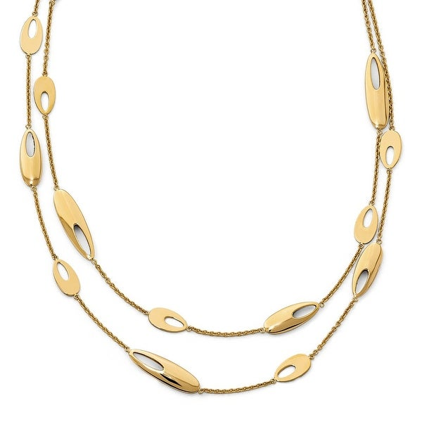 Italian 14k Gold Polished Multi-Strand with 2in ext. Necklace - 18 inches