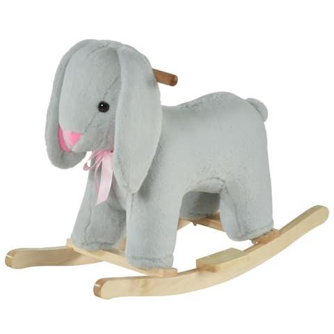 Qaba Kids Ride-On Rocking Horse Toy Rabbit Style Rocker with Fun Music & Soft Plush Fabric for Children 18-36 Months