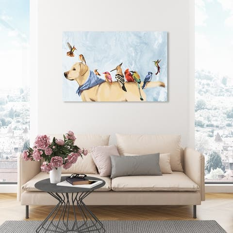 Oliver Gal 'Out In The Field' Animals Wall Art Canvas Print Dogs and Puppies - Brown, Blue