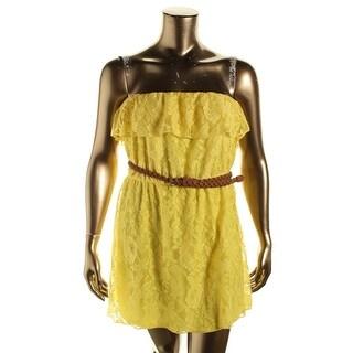 Trixxi Womens Juniors Sundress Lace Strapless