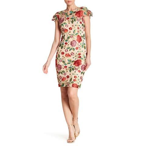 Carmen Marc Valvo Illusion Neck Embroidered Dress, Multi, 14