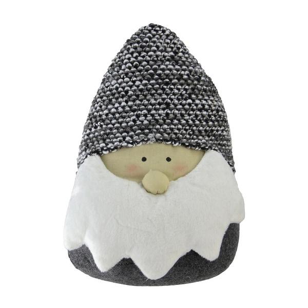 "8"" Gray and White Elegant Santa Head Gnome Tabletop Decoration"