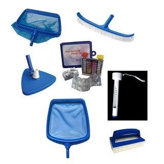 7-Piece Deluxe Swimming Pool Kit - Vacuum, Leaf Rake, Brush, Thermometer, Test Kit, Scrubbing Pad and Skimmer - Blue