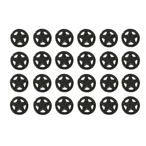 Set of 24 Rustic Brown Cast Iron Western Star Drawer Pulls Knobs - 1.88 X 1.88 X 1.25 inches