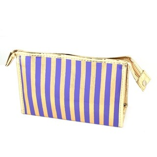 Unique Bargains Rectangle Nylon Lining Faux Leather Stripes Pattern Waterproof Cosmetic Makeup Bag