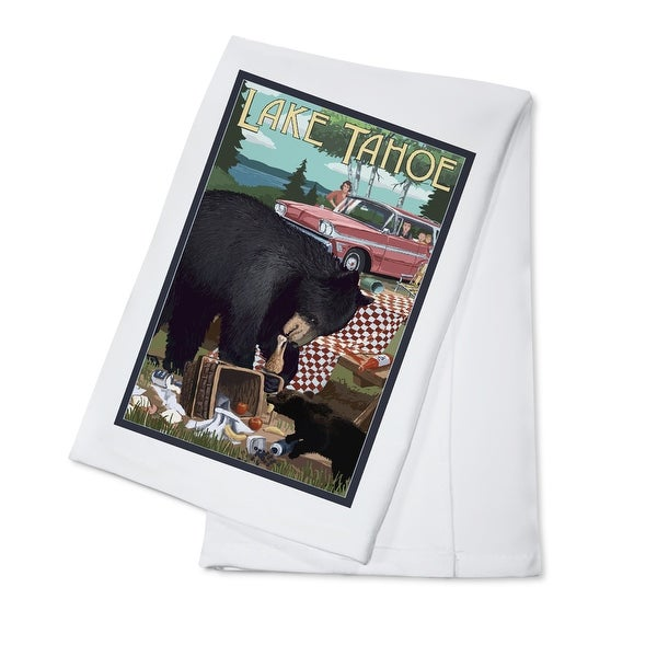 Lake Tahoe CA - Bear & Picnic - LP Artwork (100% Cotton Towel Absorbent)