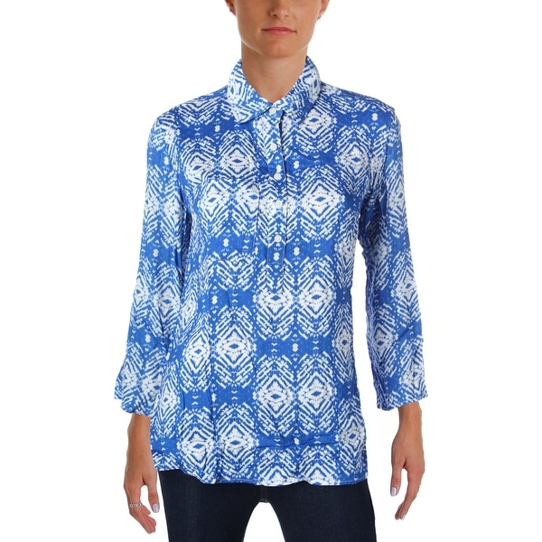 Felicite Womens Casual Top Printed Pocket