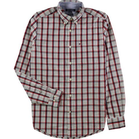 Tommy Hilfiger Mens Baron Plaid Button Up Shirt, Red, X-Small