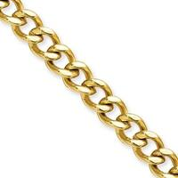 Stainless Steel IP Gold-plated 7.5mm 22in Curb Chain (7.5 mm) - 22 in