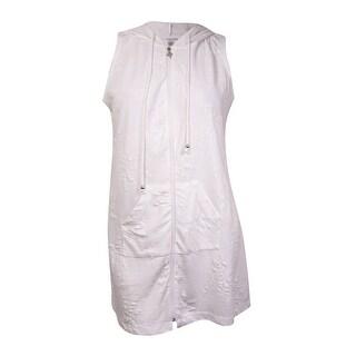 Dotti Women's Palm Tree Pocket Hoodie Coverup (S, White) - White - S