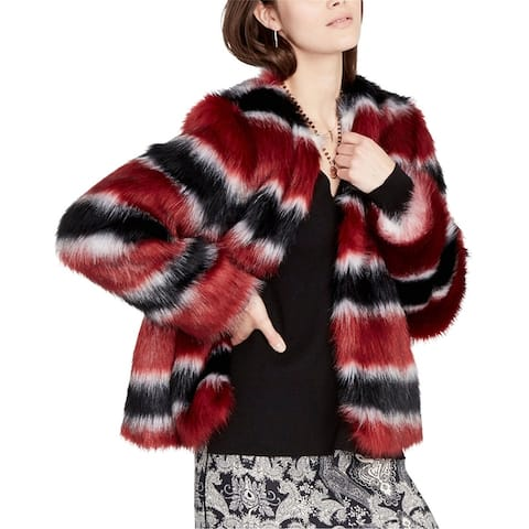Rachel Roy Womens Striped Faux-Fur Jacket