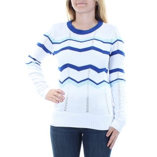 Womens White Long Sleeve Jewel Neck Casual Sweater Size S