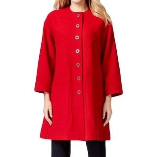 Anne Klein Womens Pea Coat Wool Blend Collarless