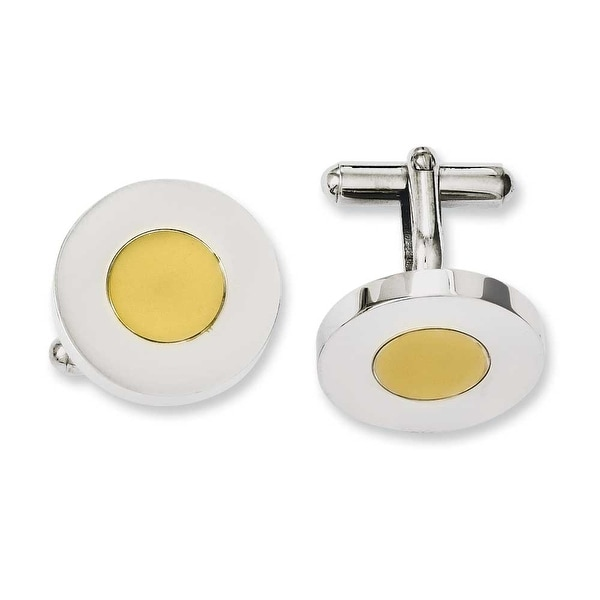 Chisel Stainless Steel Polished & Yellow IP Circle Cuff Links