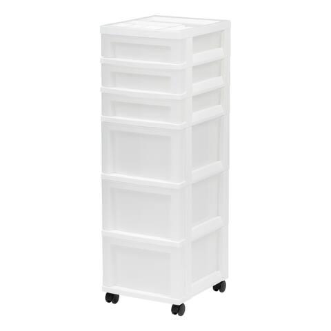 6-Drawer Storage Cart White/Pearl