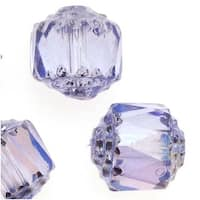 Czech Cathedral Glass Beads 8mm Alexandrite AB/Silver Ends (10)