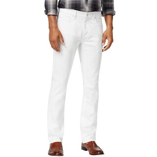 INC International Concepts Berlin Slim Straight Bright White Jeans 34 x 34