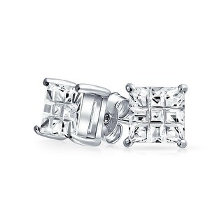 Bling Jewelry Unisex CZ Invisible Cut earrings 925 Sterling Silver Stud 9mm