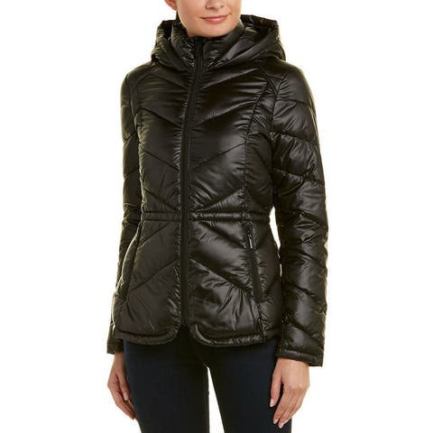 French Connection Black Womens Size Medium M Puffer Shiny Jacket