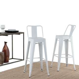 Link to WYNDENHALL Josephine Industrial Metal 30 inch Bar Stool (Set of 2) - 17.2 W x 17.7 D x 39.6 H - 17.2 W x 17.7 D x 39.6 H Similar Items in Dining Room & Bar Furniture