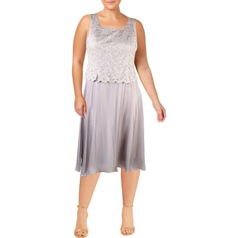 Alex Evenings Womens Petites Cocktail Dress Lace Sleeveless - 14P