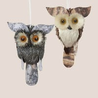 Pack of 12 Modern Lodge Gray and Brown Natural Owl Christmas Ornaments 6.5""