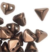 Czech Glass Super Kheops par Puca, 2-Hole Triangular Pyramid Beads 6mm, 9 Grams, Dark Bronze