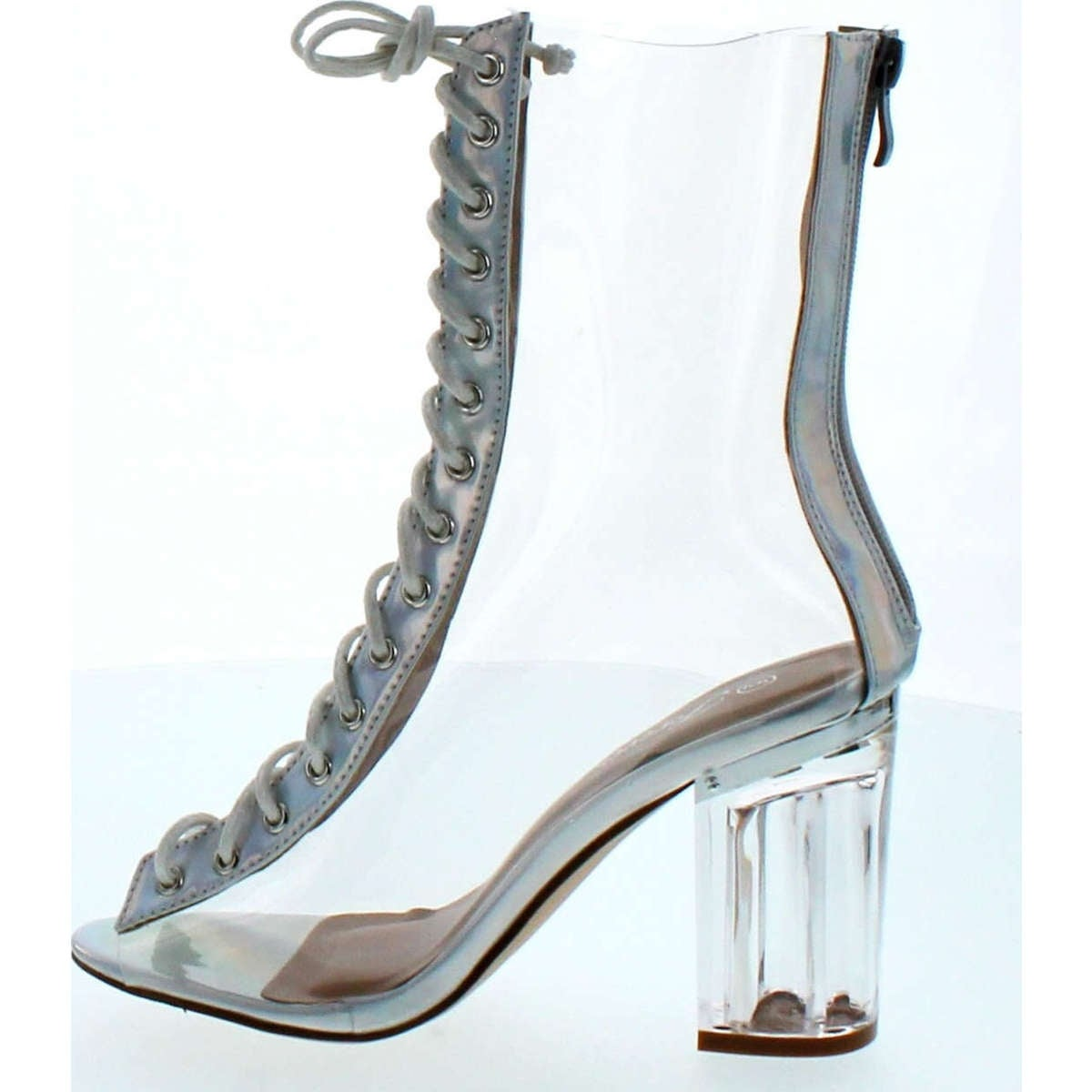 4be9475f0a Shop Forever Clear-45 Above Ankle Clear Peep Toe Lace Up Boots & Perspex  Plexiglas Block Heel - Free Shipping On Orders Over $45 - Overstock -  14948109