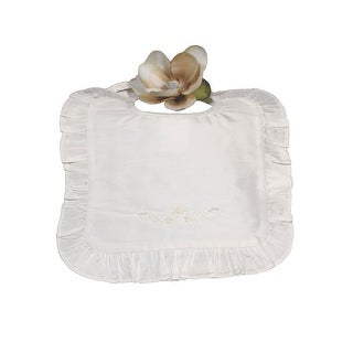 Little Things Mean A Lot Off-White Silk Dupioni Ruffle Bib - One size