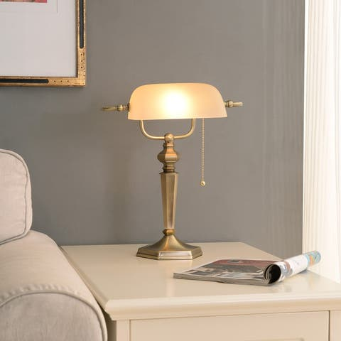 Doherty Banker-style Golden Bronze Desk Lamp