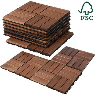 11 Acacia Wood Deck Floor Tiles (EZ Lock, FSC Certified, by Mammoth)