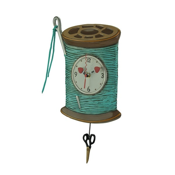 Allen Designs Needle and Thread Pendulum Wall Clock - 16 X 8.5 X 1.5 inches