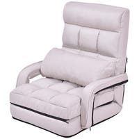 Gymax Beige Folding Lazy Sofa Floor Chair Sofa Lounger Bed with Armrests and Pillow