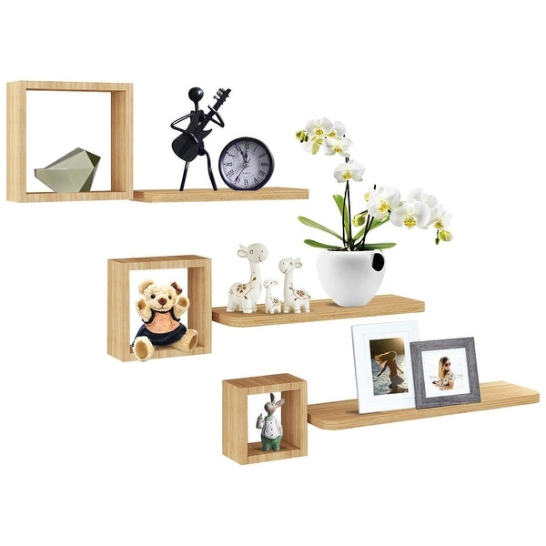 Set of 6 Home Display Floating Wall Mounted Shelves - Natural