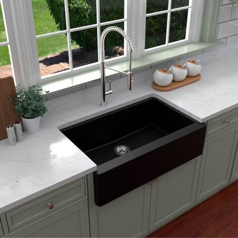 Karran Farmhouse/ Apron-front Quartz Single Bowl Kitchen Sink