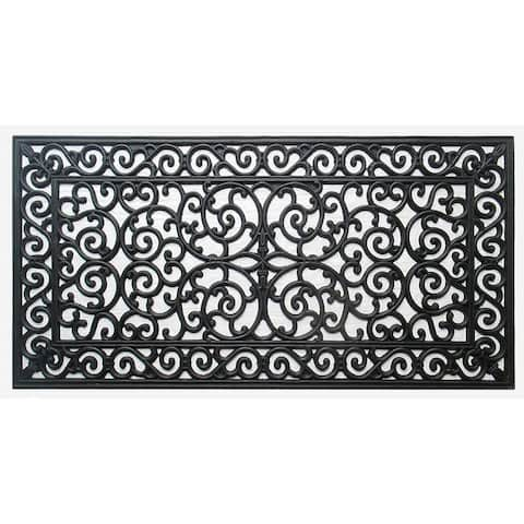 """First Impression Audie Durable And Attractive Rubber Entry Double Doormat - 47.25""""x23.62"""""""