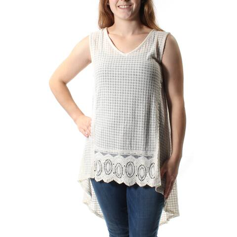 STYLE & CO Womens Ivory Lace Sleeveless Jewel Neck Hi-Lo Sweater Size: M