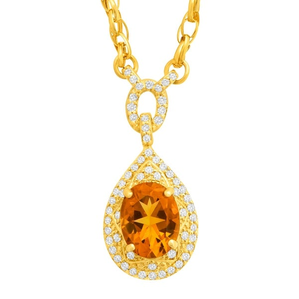 1 5/8 ct Natural Citrine & 1/3 ct Diamond Necklace in 14K Gold - Yellow