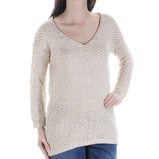 Womens Beige Long Sleeve V Neck Top Size S